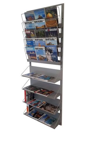 Espositori per libri giornali e riviste mag soluzioni for Arredamento giornali